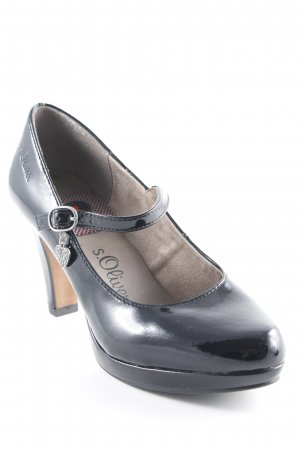 s.Oliver Mary Jane Pumps black leather-look