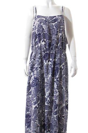 s.Oliver Maxikleid weiß-dunkelblau florales Muster Boho-Look