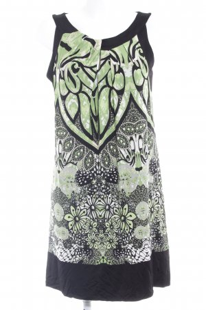 s.Oliver Minikleid schwarz-grasgrün abstraktes Muster Casual-Look