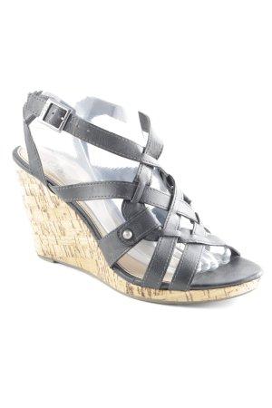 s.Oliver Plateau-Sandaletten schwarz-sandbraun klassischer Stil