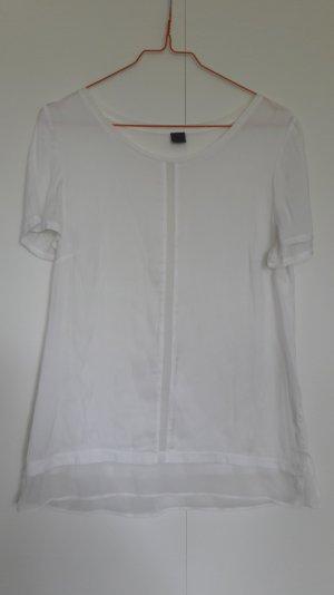 s.Oliver Premium Blusenshirt aus Materialmix weiß Gr. 36
