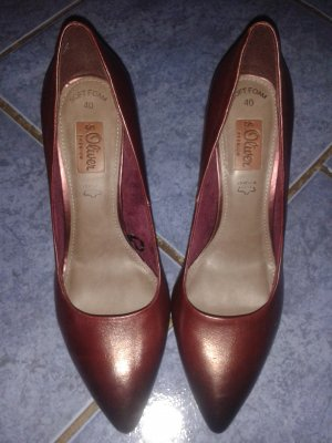 s.Oliver Premium Pointed Toe Pumps bordeaux leather