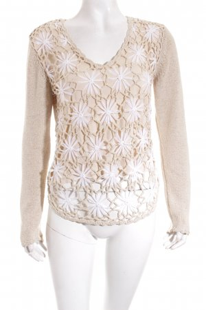 s.Oliver Pullover weiß-beige florales Muster Casual-Look