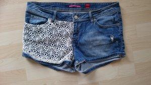 s.oliver / Qs Jeans Shorts mit Spitze Gr 42 Blau