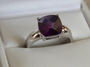 s.Oliver Zilveren ring zwart-lila