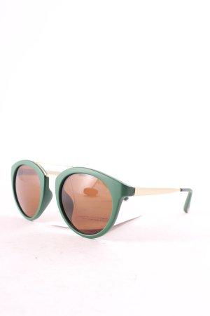 s.Oliver runde Sonnenbrille dunkelgrün-goldfarben Street-Fashion-Look