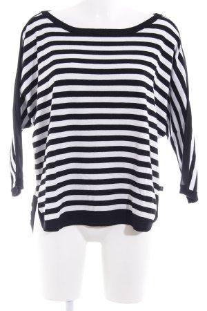 s.Oliver Rundhalspullover schwarz-weiß Streifenmuster Street-Fashion-Look