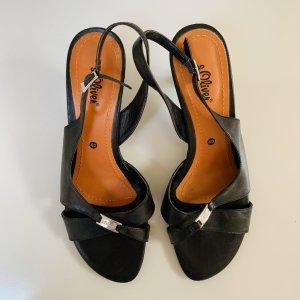 s.Oliver Strapped High-Heeled Sandals black leather