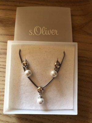 s.Oliver Collar blanco-color plata