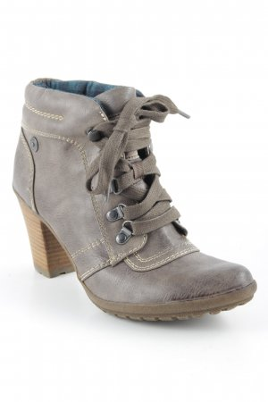 s.Oliver Lace-up Booties grey brown classic style
