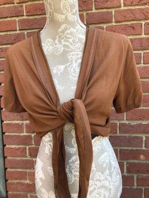 Short Sleeve Knitted Jacket cognac-coloured mixture fibre