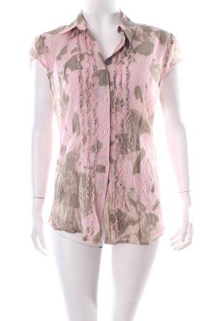 s.Oliver SELECTION Kurzarm-Bluse rosé-khaki abstraktes Muster schlichter Stil