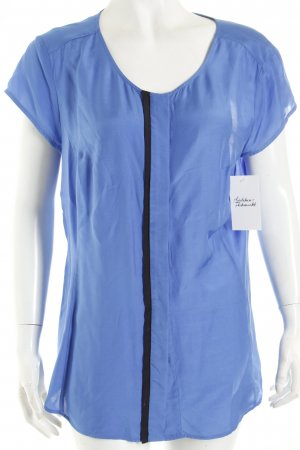 s.Oliver SELECTION Kurzarm-Bluse stahlblau-schwarz Business-Look