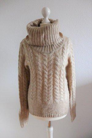 s.Oliver Selection Pulli Pullover Rollkragen Mohair braun beige nude Gr. 36