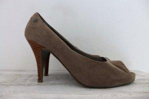 s.Oliver Selection Schuhe Peeptoes Stilettos Highheels grau braun beige Gr. 38