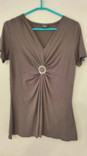 S.Oliver Shirt - braun - Gr. 38 - V Ausschnitt