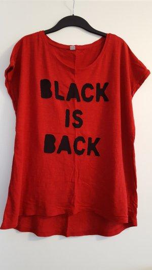 S.Oliver Shirt, Vokuhila Style, Aufschrift Black is back, Gr. 46