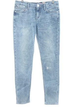 s.Oliver Slim Jeans graublau-weiß Punktemuster Casual-Look