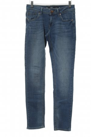 s.Oliver Slim Jeans stahlblau-kornblumenblau Destroy-Optik