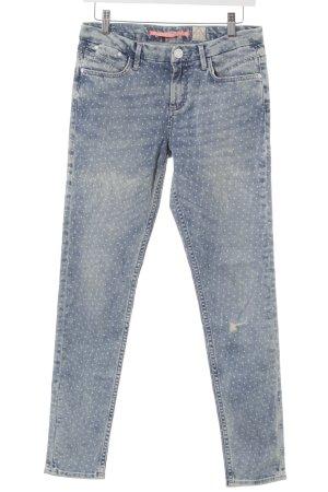 s.Oliver Slim Jeans weiß-hellblau Punktemuster Destroy-Optik