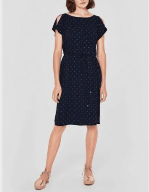 s.Oliver Cut out jurk donkerblauw-wit Viscose