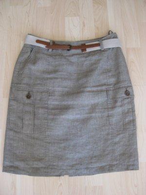 S´oliver, Sommerrock aus Leinen, khaki/olivgrün, Größe 38