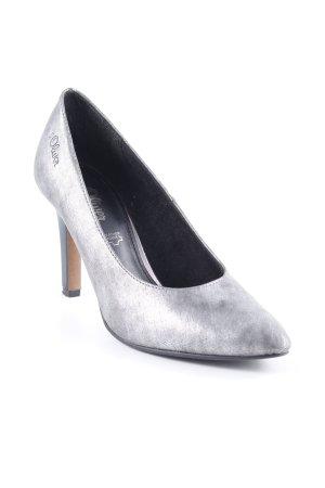 s.Oliver Zapatos de punta negro-color plata estampado con diseño abstracto