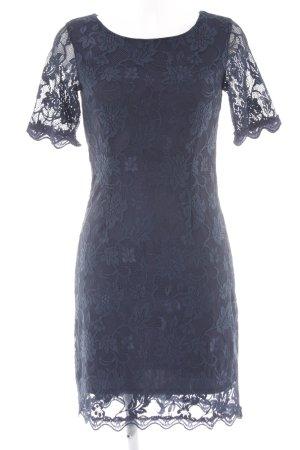 s.Oliver Spitzenkleid dunkelblau florales Muster Spitzen-Optik