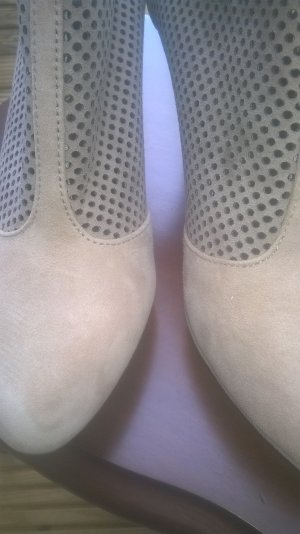 0039 Italy Zipper Booties sand brown-camel leather