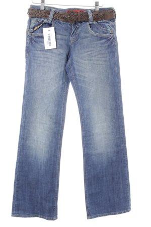 s.Oliver Straight-Leg Jeans blau Used-Optik
