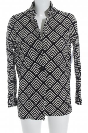 s.Oliver Gebreide blazer zwart-wit abstract patroon casual uitstraling