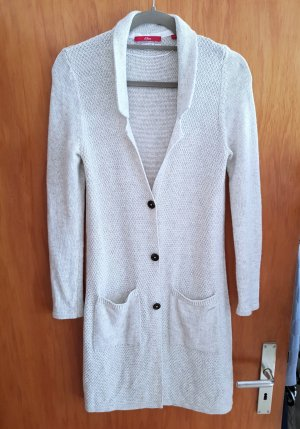 s.Oliver Strickmantel Tolle Optik Long Cardigan Strickjacke 34 hellgrau