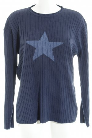 s.Oliver Strickpullover dunkelblau-kornblumenblau Sternenmuster