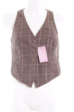 s.Oliver Knitted Vest camel-magenta check pattern casual look