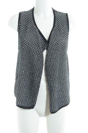 s.Oliver Gilet tricoté blanc-noir motif pied-de-poule style décontracté