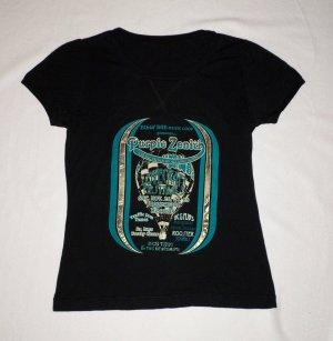 S.OLIVER-Stylisches Shirt-Kurzarm-Tailliert-Schwarz/Petrol/Gold-Gr.36