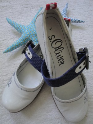 S.OLIVER ♡ Süße Leder Spangen Ballerina ♡ weiß-dunkelblau ♡ 41