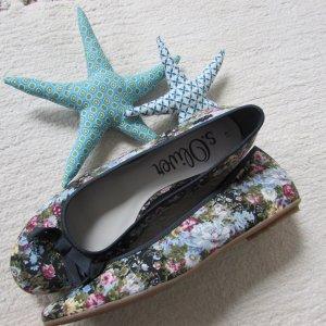 S.Oliver * Süße Sommer Textil Ballerinas * schwarz-bunt geblümt * 41 NEU