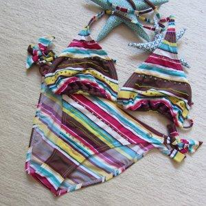 S.Oliver * %Summer SALE% Süßer Neckholder Bikini * braun-gelb-pink Glitzer * 42 (C/D)