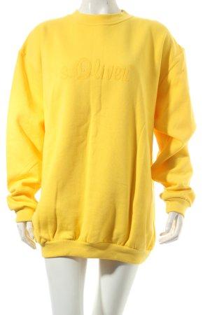 s.Oliver Sweatshirt gelb Schriftzug gedruckt Boyfriend-Look