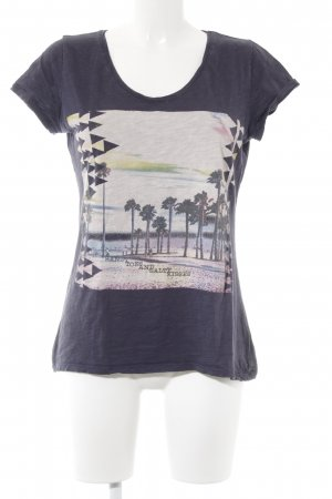 s.Oliver T-Shirt dunkelviolett-rosé Motivdruck Casual-Look