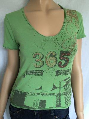 s.Oliver T-Shirt Gr.36 Grün grünes Shirt Oberteil kurzärmlig Frontprint Blume