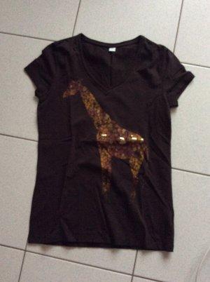 s.Oliver T-Shirt Gr. 40 braun mit Aufdruck