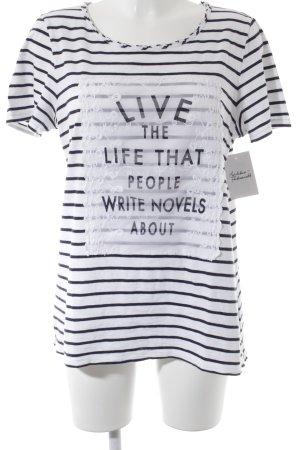 s.Oliver T-Shirt weiß-dunkelblau Streifenmuster Street-Fashion-Look