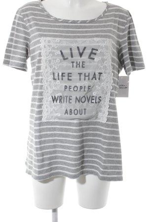 s.Oliver T-Shirt weiß-grau Streifenmuster Street-Fashion-Look