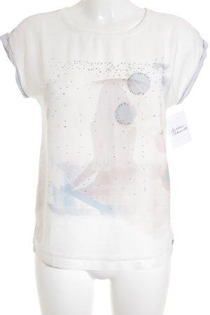 s.Oliver T-shirt bianco sporco-grigio chiaro motivo astratto stile casual