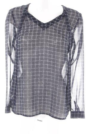 s.Oliver Transparenz-Bluse dunkelblau-weiß Karomuster Casual-Look