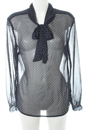 s.Oliver Transparenz-Bluse dunkelblau-weiß Punktemuster Elegant
