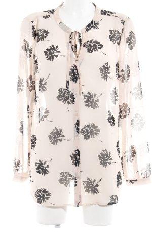 s.Oliver Transparenz-Bluse nude-schwarz florales Muster klassischer Stil