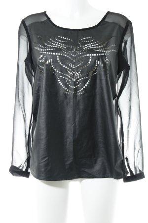 s.Oliver Transparenz-Bluse schwarz abstraktes Muster Elegant